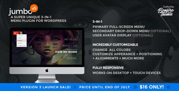 Jumbo v3.1 – A 3-in-1 full-screen menu for WordPress