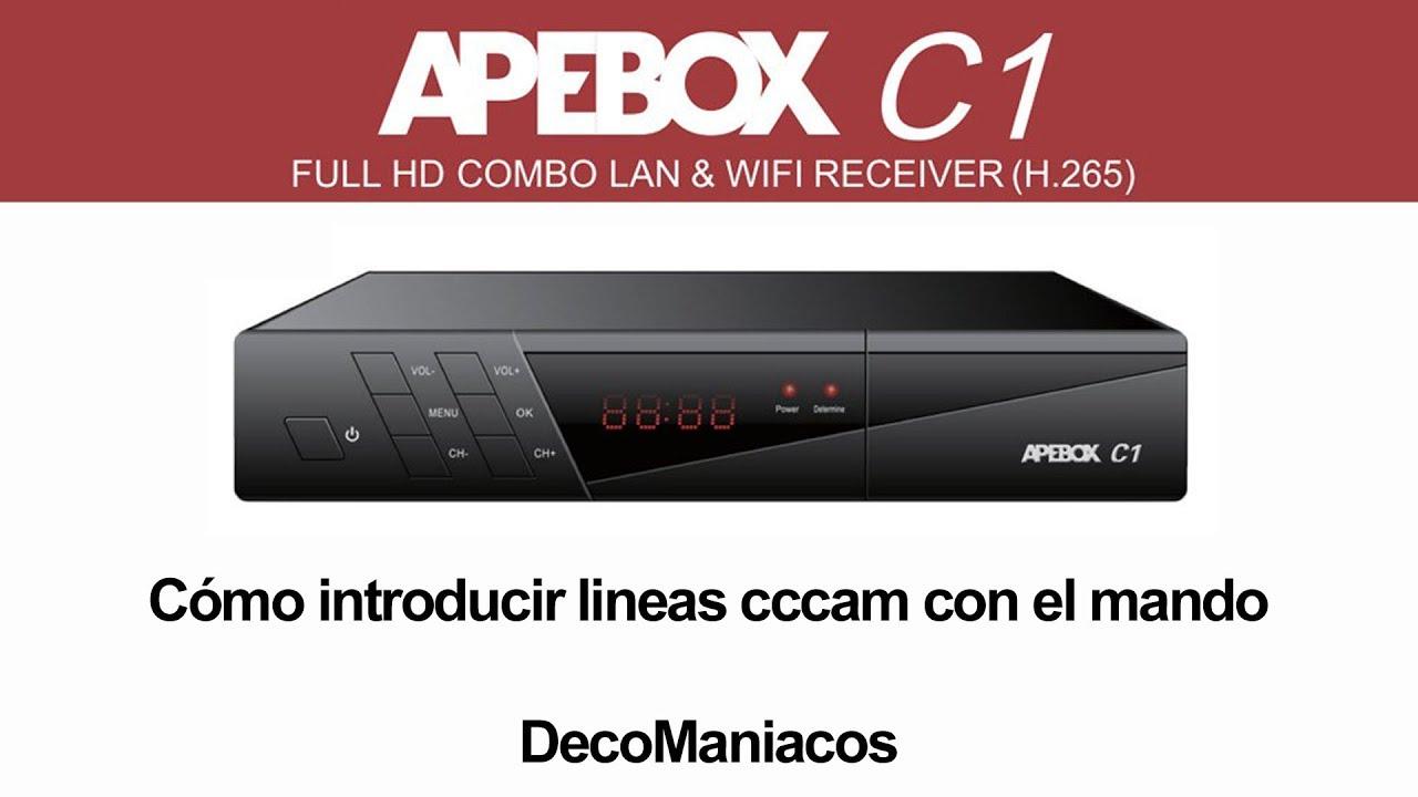 Apebox C1 Combo – Cómo introducir lineas cccam con el mando